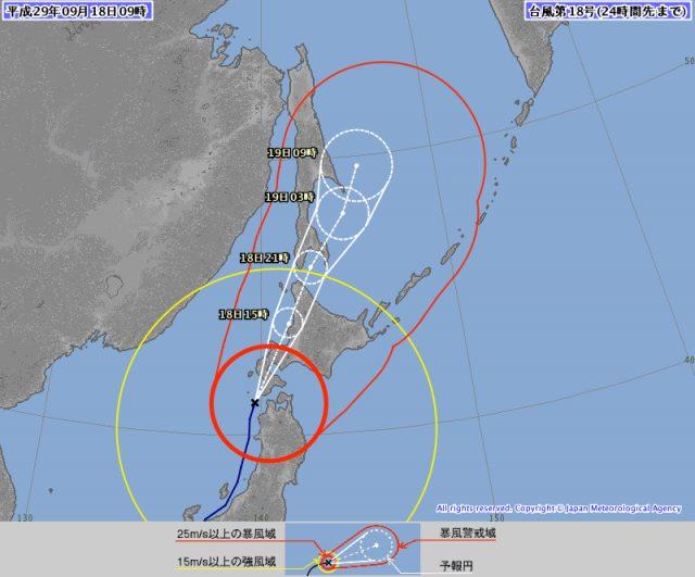 台風18号9月18日現在