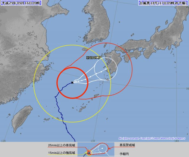 台風18号9月16日現在
