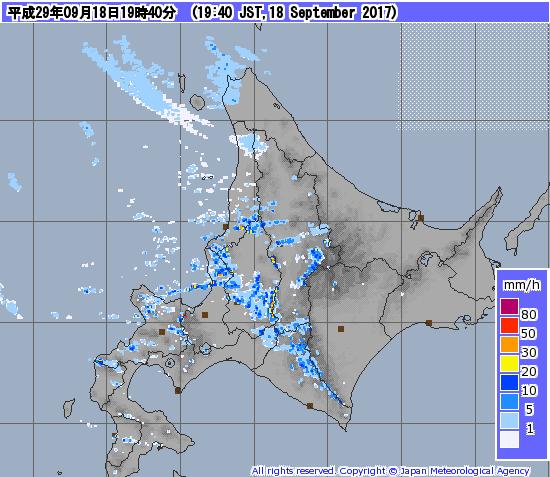 台風18号9月18日降水量