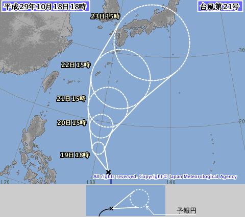 台風21号10.18時点