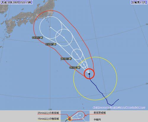 台風13号(サンサン)72時間の動き