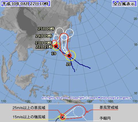 台風19号と台風20号のルート