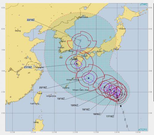 台風19号米軍合同台風警報センターの進路予想