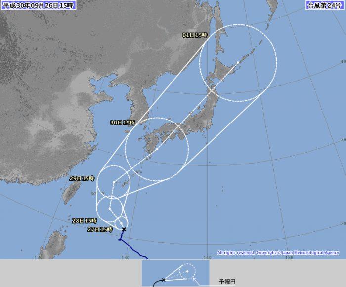 台風24号は本州上陸を目ろむ