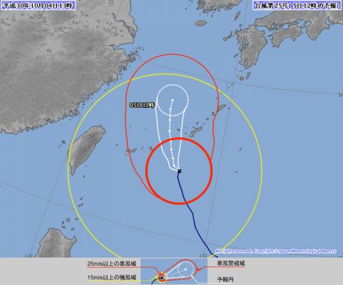 台風25号(コンレイ)は強風域が大きい